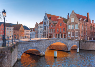 Bruges canal and bridge in the morning, Belgium