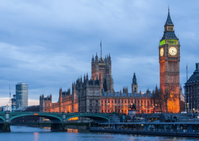 Palace of Westminster, Big Ben clock tower and Westminster Bridge in  London