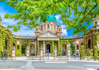 Cemetery Mirogoj entrance. / View at marble architecture in Mirogoj cemetery landmark, Zagreb Europe.