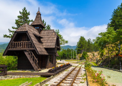 Jatape train station on the Sargan 8 (Sargan Eight - Sagarnska Osmica) narrow gauge railway commencing in Mokra Gora, Serbia.