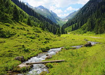 Zillertal valley in European Alps (Austria) in summer time.