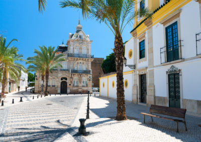 Typical street in Faro, Portugal