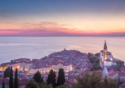 View of Piran at sunset from town all