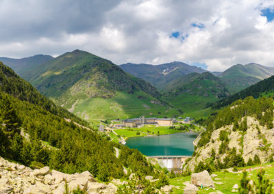 Lake in Vall de Nuria valley Sanctuary in the Catalan Pyrenees, Spain,Europe