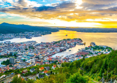 Sunset view on Bergen and harbor from the mountain floyen