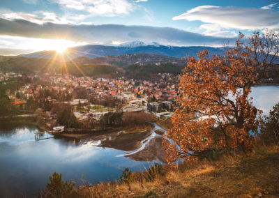 Beautiful sunset near Sofia, Bulgaria - Pancharevo lake and autumn trees