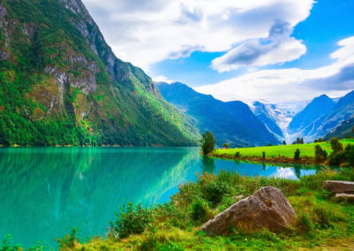Norway fjord and glacier landscape