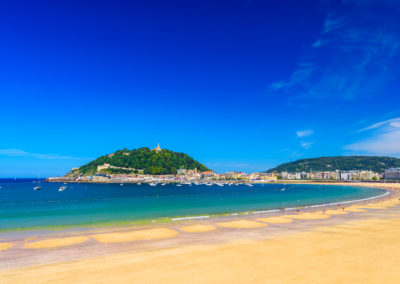 La Concha beach at San Sebastian Donostia, Spain. Best european beach in sunny