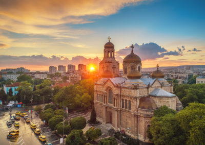 The Cathedral of the Assumption in Varna, Bulgaria. Aerial sunset view