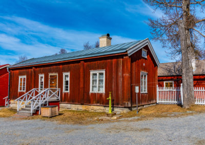 Typical swedish architecture in the urban section of the Jamtli folk museum in Ostersund, Sweden