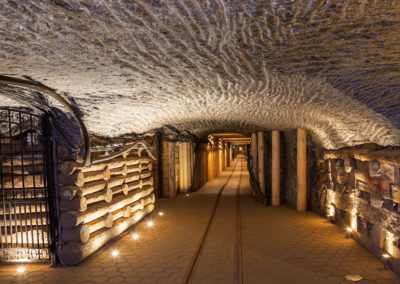 Underground corridor in the Wieliczka Salt Mine, Poland.