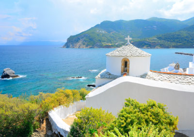 Church above Skopelos, Greece