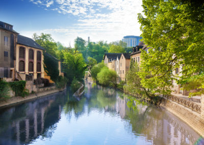 Houses reflecting in Alzette river, Luxembourg