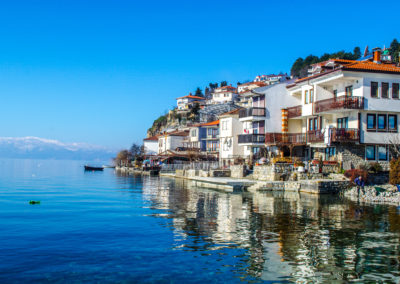 view of a typical houses situated at the edge of ohrid unesco heritage city in fyrom macedonia.