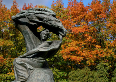 Fryderyk Chopin monument in Warsaw in fall colors