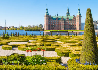 Park and Palace Frederiksborg Slot, palace in Hillerod, Denmark