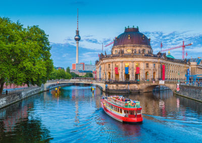 Berlin Museumsinsel with TV tower at sunset, Berlin, Germany