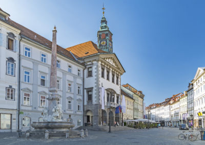 Ljubljana, capital of Slovenia, old town square and street