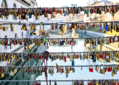Love locks on the butchers bridge in Ljubljana Slovenia.