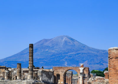 Pompeii, Italy, Foro di Pompei with Mount Vesuvius in background