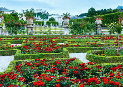 Summer garden with rose flowerbed (Salzburg, Austria)