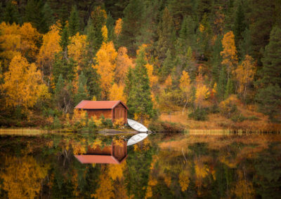 Autumn in Bymarka area in Trondheim, Norway. Beautiful reflections on the lake,