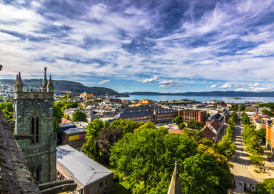 July 28, 2015: Trondheim seen from the roof of Nidaros Cathedral
